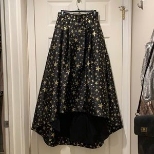 Eliza J High Low Ball Gown Skirt Black Gold Stars